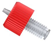 "Barb adapter, Click-N-Seal®, PC, red, 1/4""-28 UNF male to 1/16"", pack of 10"