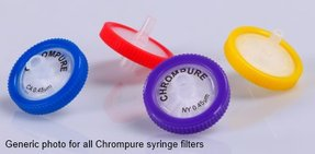ChromPure syringe filter, hydrophobic PTFE, 25mm Ø, 0.45µm, without prefilter. Pack of 100