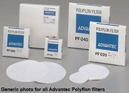 Polyflon filter, hydrophobic PTFE, 70mm Ø, pore size 2.0µm, white, max. temp. 260 °C. Filtration of hot acids; separation of aqueous and non-aqueous phases; venting air and gases. Pack of 10