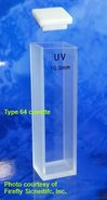 Cryogenic absorbance cuvette with PTFE cover, UV quartz, lightpath 10 mm